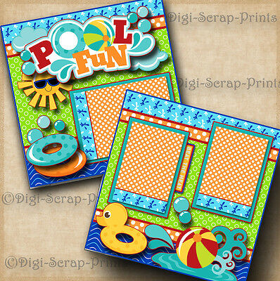 POOL FUN ~ SWIM summer 2 premade scrapbook pages paper piecing layout DIGISCRAP