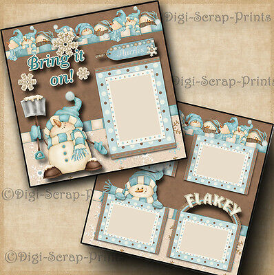BRING IT ON ~ SNOW 2 premade scrapbook pages paper piecing 4 ALBUM ~BY DIGISCRAP