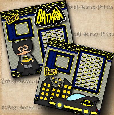 BATMAN superhero 2 premade scrapbook pages piecing layout paper DIGISCRAP #A0084 (Superhero Scrapbook Paper)
