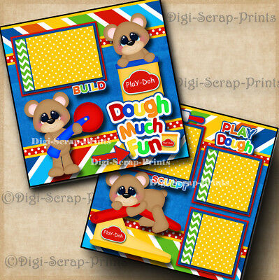 PLAY DOH ~ DOUGH 2 premade scrapbooking pages paper piecing layout ~BY DIGISCRAP