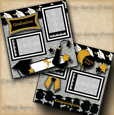 GRADUATION ~ 2 pre-made scrapbook pages paper piecing layout school ~ DIGISCRAP