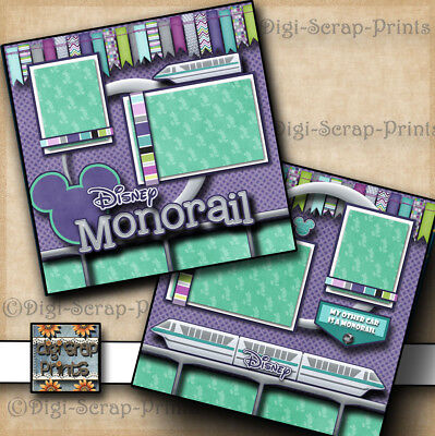 DISNEY MONORAIL ~ RIDE 2 premade scrapbooking pages layout 4 album ~BY DIGISCRAP