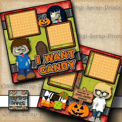 ZOMBIES I WANT CANDY HALLOWEEN 2 premade scrapbook pages layout paper - Halloween Scrapbook Layout Pages