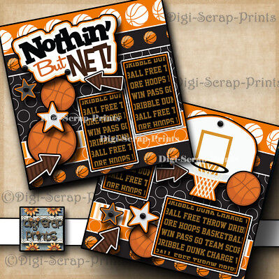 BASKETBALL 2 pre-made SCRAPBOOK pages paper piecing girl or boy DIGISCRAP #A0079