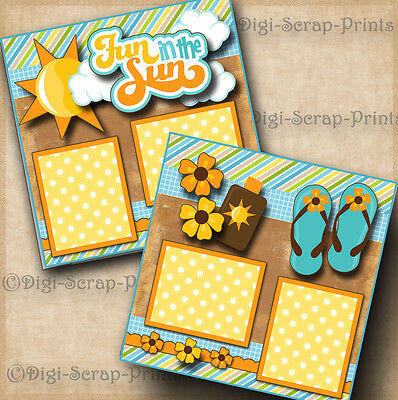 FUN IN THE SUN 2 premade scrapbook pages paper peicing vacation beach