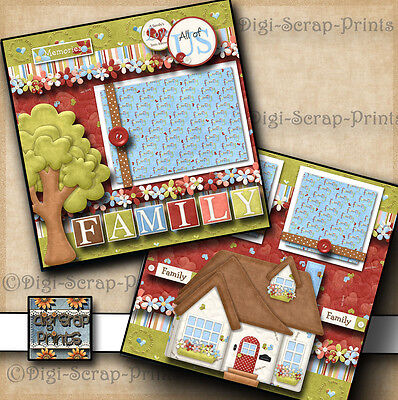 FAMILY ~ HOME ~ 2 premade scrapbook pages paper piecing printed layout DIGISCRAP