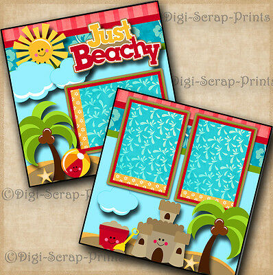 BEACH vacation 2 pre-made scrapbook pages layout paper piecing DIGISCRAP #A0091