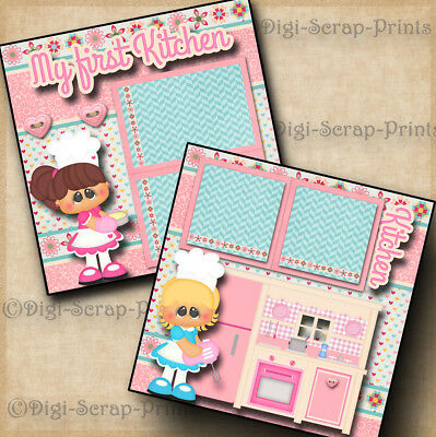 MY 1ST KITCHEN girl 2 premade scrapbook pages paper piecing layout BY DIGISCRAP