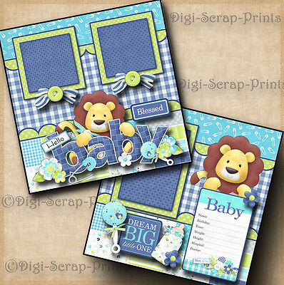 BABY BOY 2 premade scrapbook pages paper piecing layout 4 album DIGISCRAP #A0047