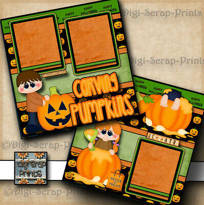 PUMPKIN CARVING halloween ~ 2 premade scrapbook pages paper layout ~BY DIGISCRAP