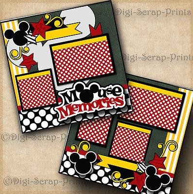 MOUSE MEMORIES ~ DISNEY 2 premade scrapbook pages paper piecing mickey DIGISCRAP