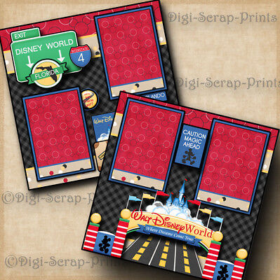 DISNEY WORLD ~ 2 premade scrapbook pages layout print paper piecing BY DIGISCRAP