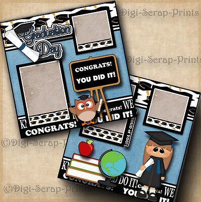 GRADUATION GIRL 2 premade scrapbook pages paper piecing layout school DIGISCRAP
