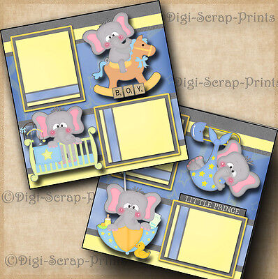 BABY BOY 2 premade scrapbook pages layout scrapbooking paper DIGISCRAP #A0030
