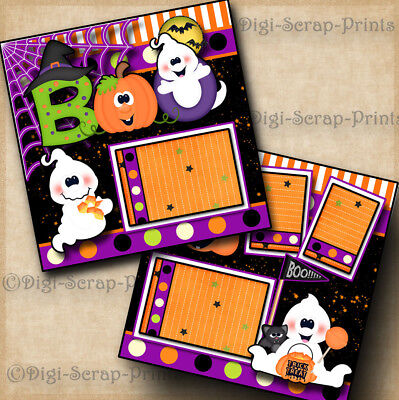 HALLOWEEN GHOST BOO 2 premade scrapbook pages layout paper piecing ~BY - Halloween Scrapbook Layout Pages