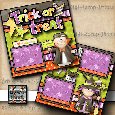 Halloween Scrapbooking Pages (TRICK OR TREAT ~ halloween 2 premade scrapbooking pages paper piecing)
