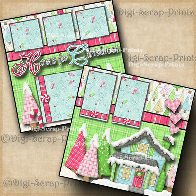 HOME FOR THE HOLIDAYS 2 premade scrapbook pages CHRISTMAS layout DIGISCRAP A0155 ()