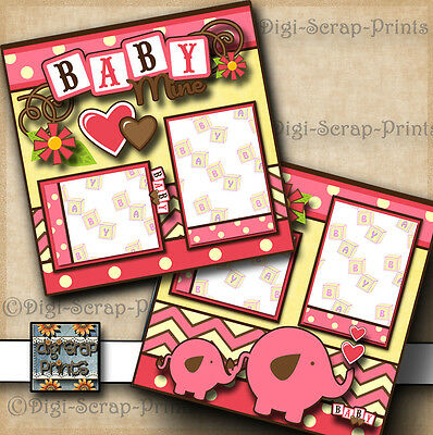 BABY GIRL ~ 2 pre-made scrapbook pages paper piecing layout BY DIGISCRAP #A0069