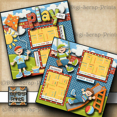 PLAY DAY ~ BOY ~ PARK 2 premade scrapbook pages paper piecing printed DIGISCRAP