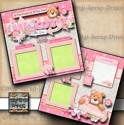 WELCOME BABY GIRL 2 premade scrapbook pages paper piecing layout DIGISCRAP A0063](Welcome Baby Girl)