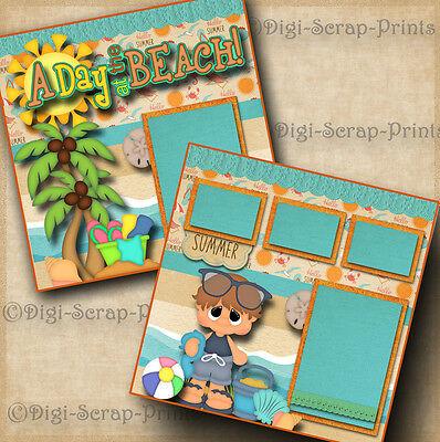 BEACH ~ BOY ~ 2 pre-made scrapbook pages layout paper piecing DIGISCRAP #A0086