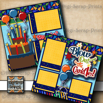 BIRTHDAY ~ 2 premade scrapbook pages paper piecing layout print DIGISCRAP - Scrapbook Pages