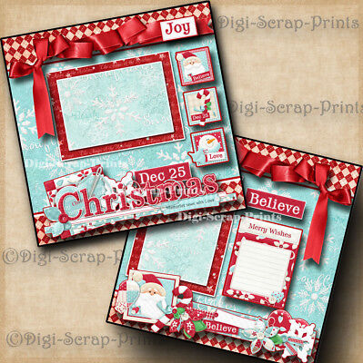 CHRISTMAS SEWN WITH LOVE ~ 2 premade scrapbook pages paper piecing  BY DIGISCRAP