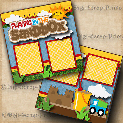 PLAYING IN THE SANDBOX  2 premade scrapbook pages paper piecing layout DIGISCRAP