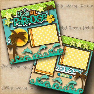 PARADISE beach 2 premade scrapbook pages vacation layout scrapbooking DIGISCRAP