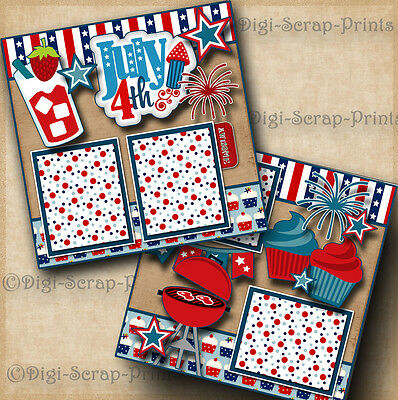 JULY 4TH ~ GRILL bbq 2 premade scrapbook pages paper piecing layout BY DIGISCRAP