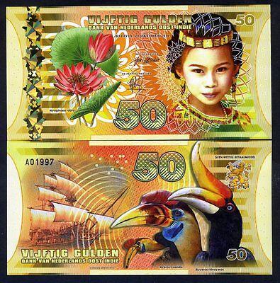 Netherlands Indies (Indonesia), 50 Gulden, 2016, Polymer, UNC - Girl, Sailboat