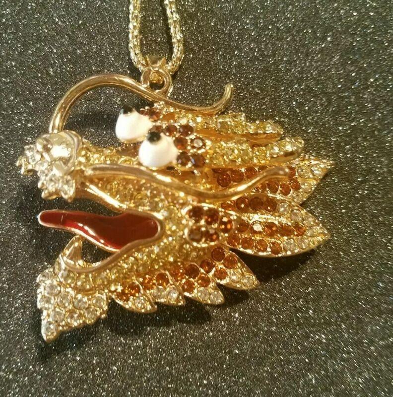 Betsey Johnson Pretty fashion Crystal Enamel Dragon head Pendant Necklace