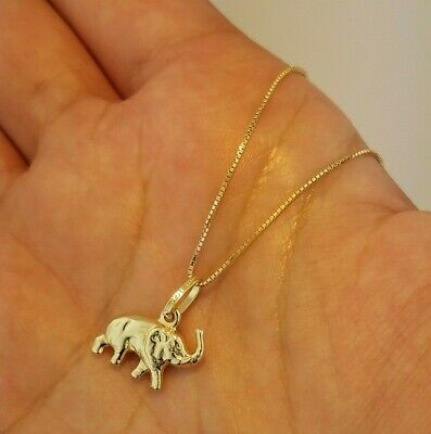 14K Yellow Gold 3D Small Baby Elephant Pendant Necklace Lucky Charm ()
