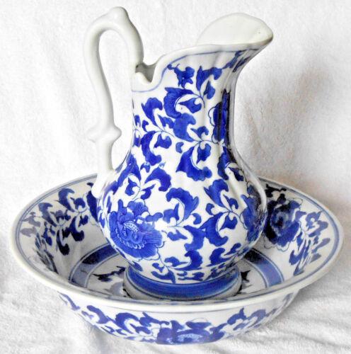 Ashley Belle White Cobalt Blue Victorian Floral Design Pitcher & Wash Bowl SALE!