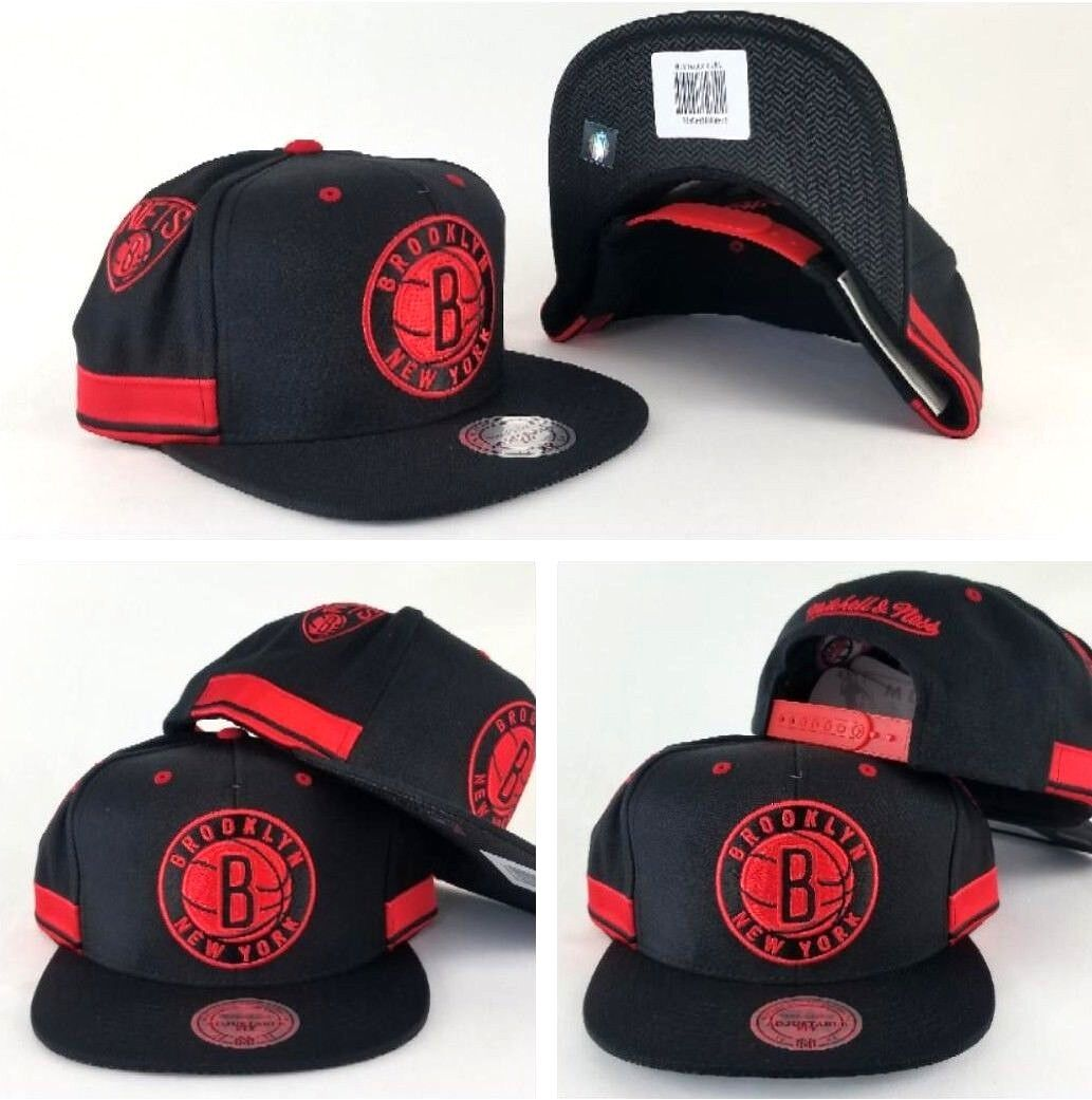 uk availability f575d ca5a5 ... real new mitchell and ness nba black red brooklyn nets adjustable  snapback hat cap. exclusive