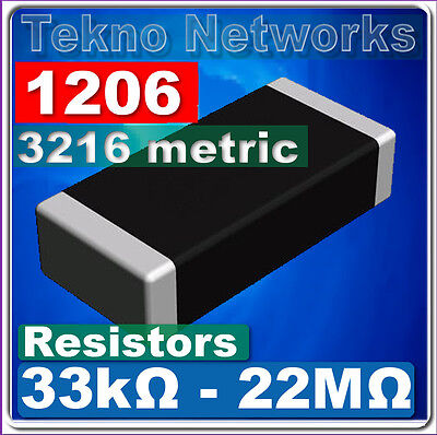 1206 3216 Metric Smd Smt Resistors - 100pcs Range 33k - 22m Ohm