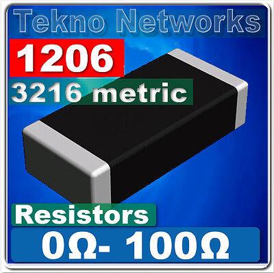 1206 3216 Metric Smd Smt Resistors -100pcs Range 0 - 100 Ohm