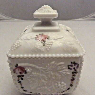 WESTMORELAND ROSES AND GRAPES MILK GLASS CANDY DISH