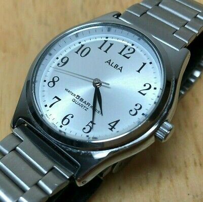 Vintage ALBA V501-6V50 Men Lady 50m Silver Analog Quartz Watch Hours~New Battery