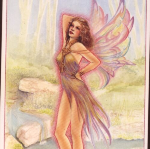 """""""STREAM FAIRY"""" ...IRREDESCENT  PASTELS,BUTTERFLY WINGS,WILLIS FANTASY POSTCARD"""