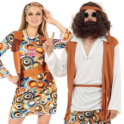 Adult Mens Ladies Couple 60s 70s Groovy Hippy Flower Power Fancy Dress Costume](Power Couple Costumes)