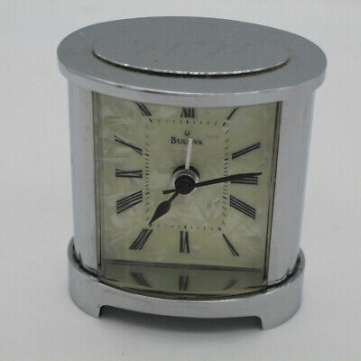 Bulova Small Desk Clock with Alarm Silver -