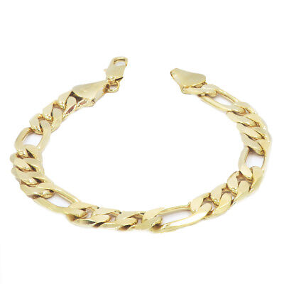 14k Gold Plated 11mm Figaro Bracelet High Fashion Style+jewelry Cleaning Cloth