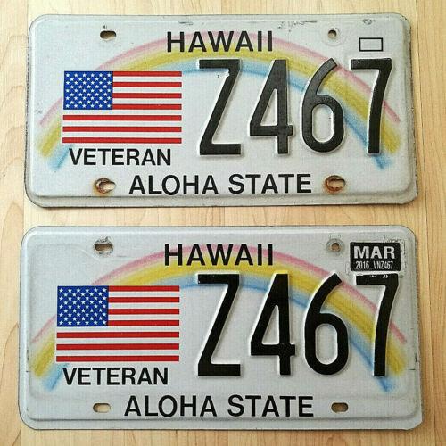 REAL HAWAII STATE LICENSE PLATE VETERAN AUTO CAR TAG MARINE CORPS MILITARY PAIR