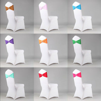 15/50/100/200 Spandex Stretch Chair Cover Bow Wedding Party Slider Sash +Buckle