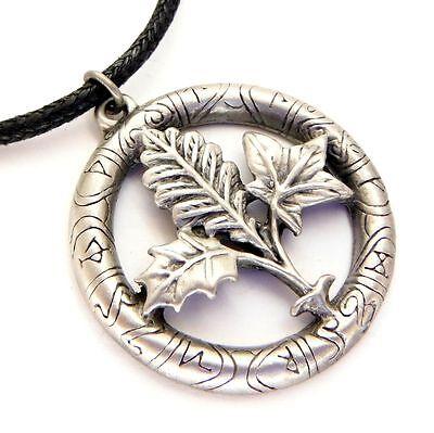 Greenwood Tree Runes Oak Holly Ivy Leaf Amulet Pendant Necklace Pewter GW07