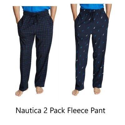 Nautica 2-Pack Mens Fleece Pajama Lounge Pants Sleepwear Navy Sailboats NWT Sz M