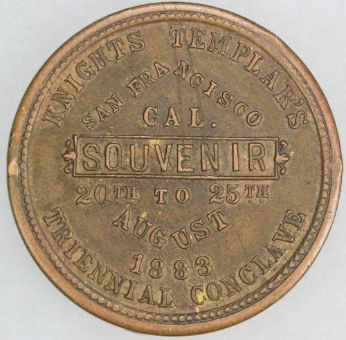 "1883 San Francisco Triennial Conclave Token ""Knights Templars"" ""Great Condition"""