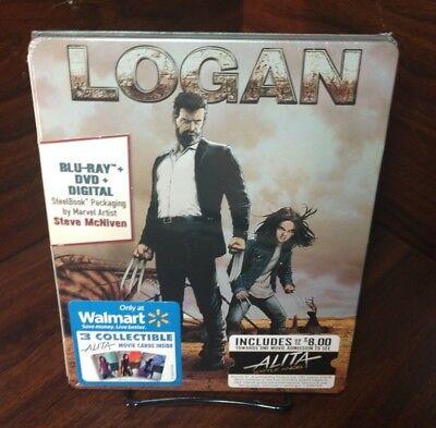 Logan Steelbook(Blu-ray/DVD+Digital)$8 Movie Ticket+Cards(Alita Battle Angel)NEW