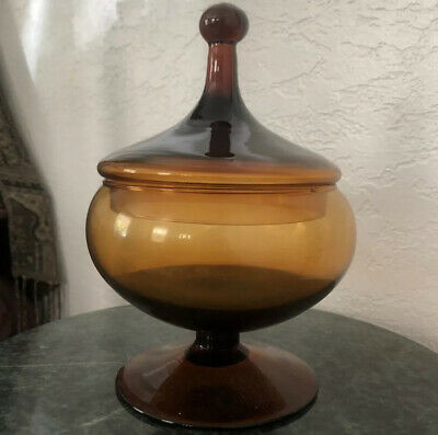 E L 1960/'s Mid Century Smith/'s Dominion flared compote Golden Amber Ca